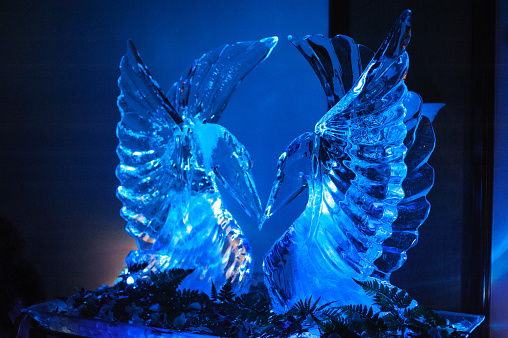 Ice carving swan sculpture