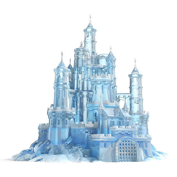 ice castle 3d illustration - castle stock photos and pictures