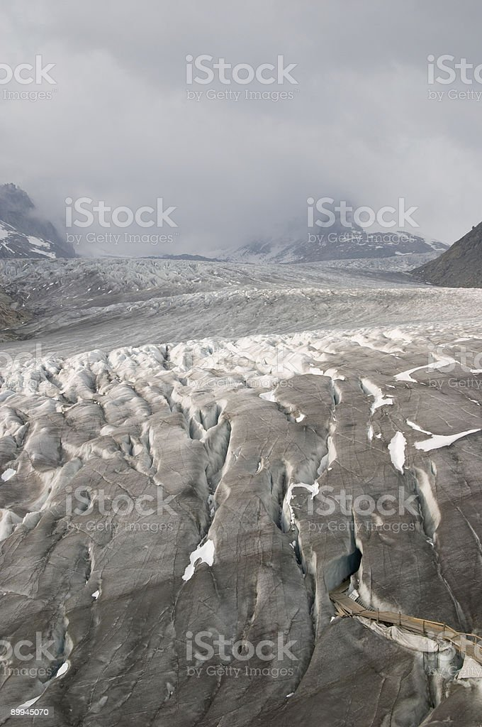 Ice cave (Eisgrotte am Rhonegletscher) and Rhone glacier royalty-free stock photo