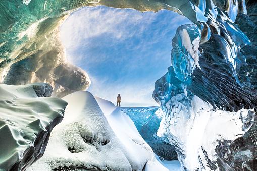 Inside the Breidamerkurjokull ice cave in South East Iceland.  Breidamerkurjokull is an outlet glacier of the larger glacier of Vatnajokull in South East Iceland.