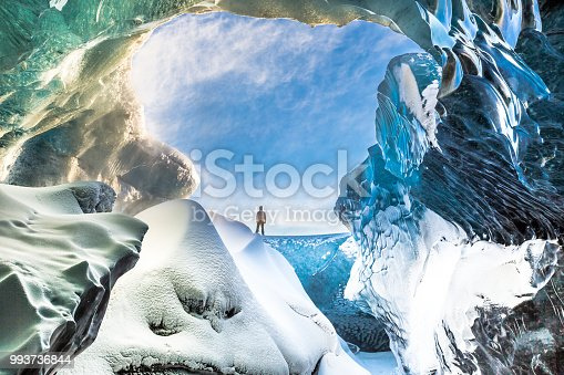 Inside the Breidamerkurjokull ice cave in South East Iceland.  Breidamerkurjokull is an outlet glacier of the larger glacier of Vatnajokull in South East Iceland.