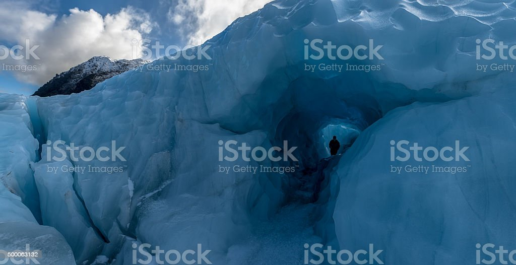 Ice cave, Fox Glacier, New Zealand. stock photo