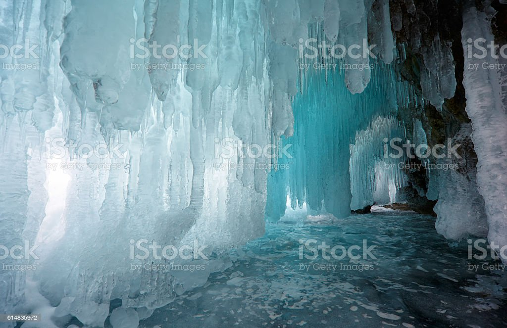 Ice cave stock photo
