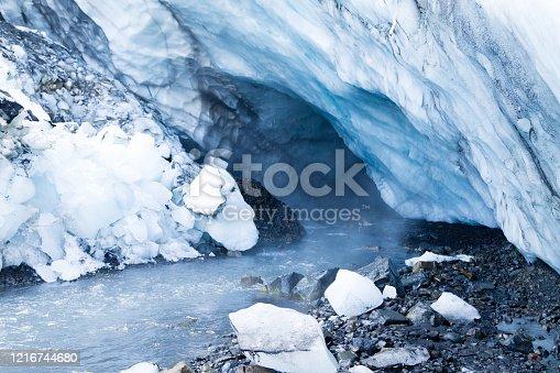 Ice caves near Kverfjoll area, Iceland landscape. Kverkfjoll mountain. Vatnajokull National Park