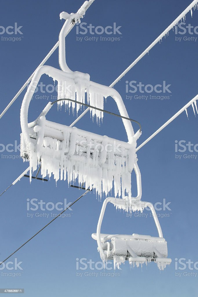 Ice Chair on lift in the mountains royalty-free stock photo