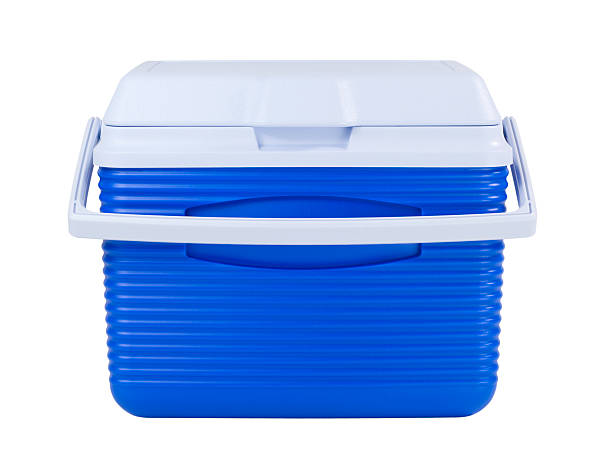 Ice Chest Blue ice chest isolated on white. cooler container stock pictures, royalty-free photos & images