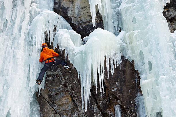 Ice Climbing in South Tyrol, Italy stock photo