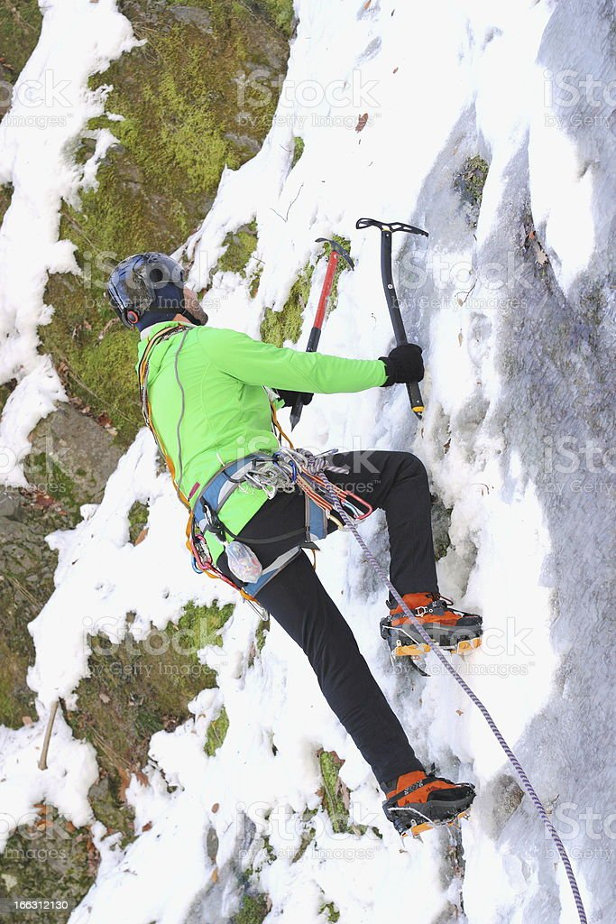 ice climbing in winter royalty-free stock photo