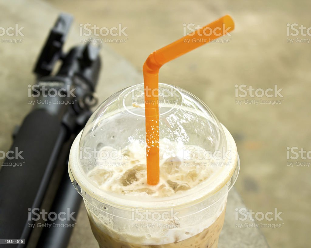 Ice coffee and tripod royalty-free stock photo