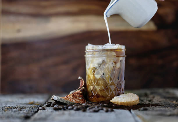 Ice coffee cup and coffee beans. stock photo