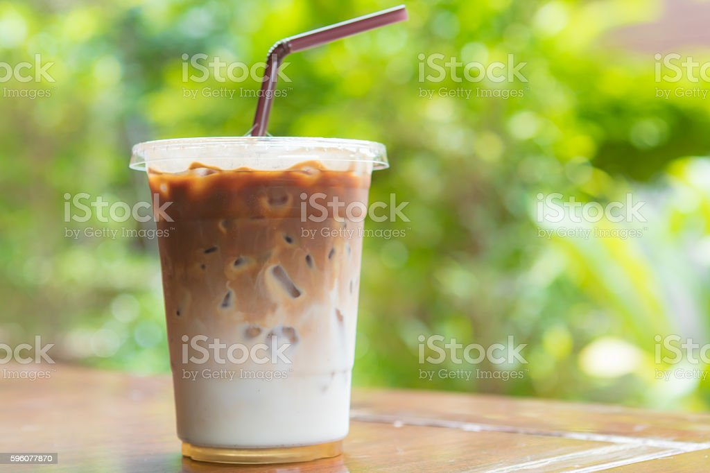 Ice coffee on table in cafe, Morning light. royalty-free stock photo