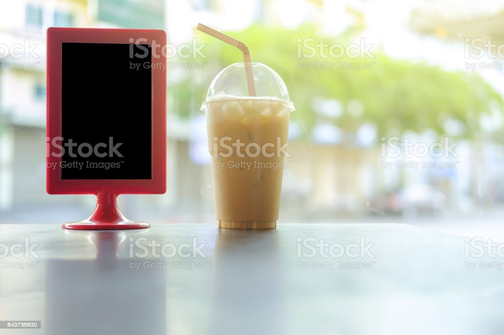 Ice coffee on the table. stock photo