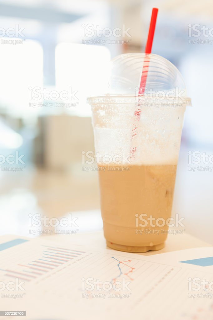 Ice coffee with graph stock photo