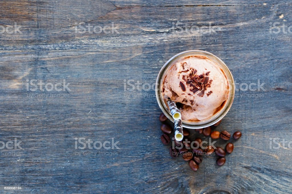 Ice coffee with whipped cream stock photo
