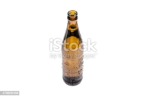Ice cold brown bottle of beer with condensation water droplets isolated on a white background. Large copy space, just put in your text / logo.
