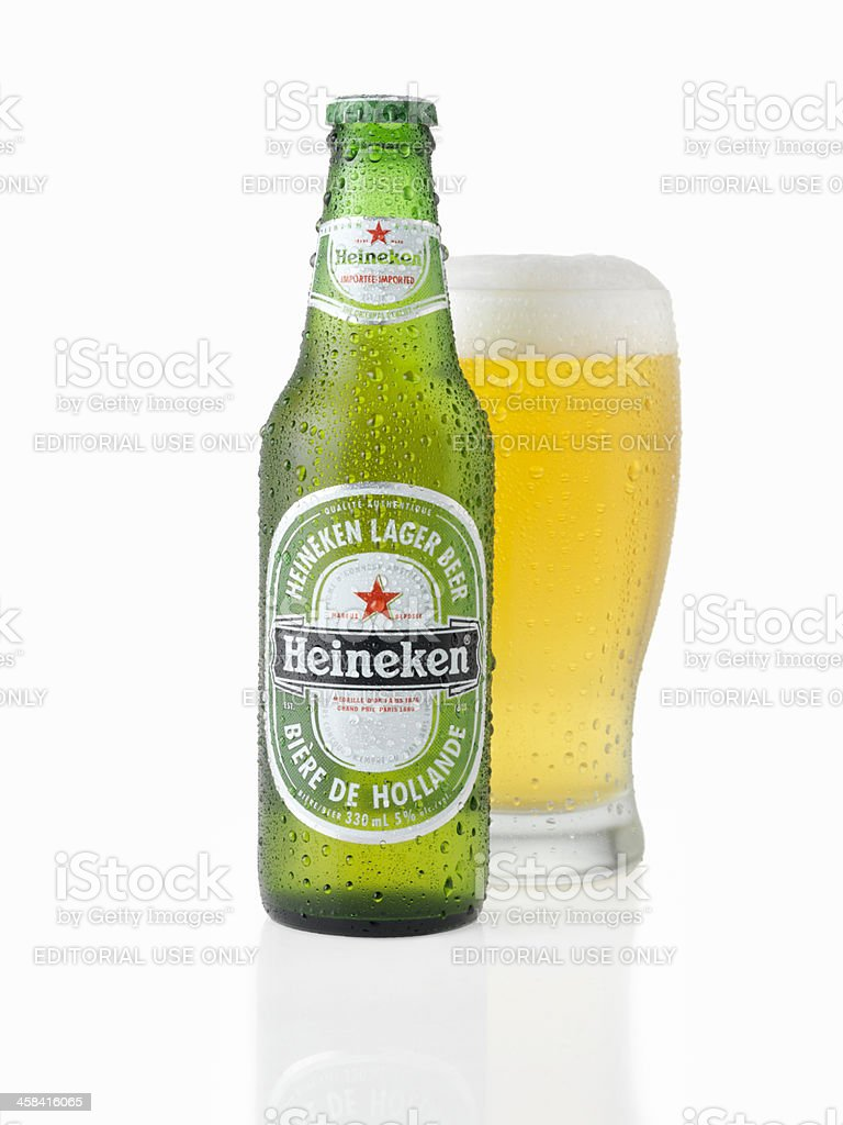 Ice Cold Bottle and Glass of Heineken Beer royalty-free stock photo
