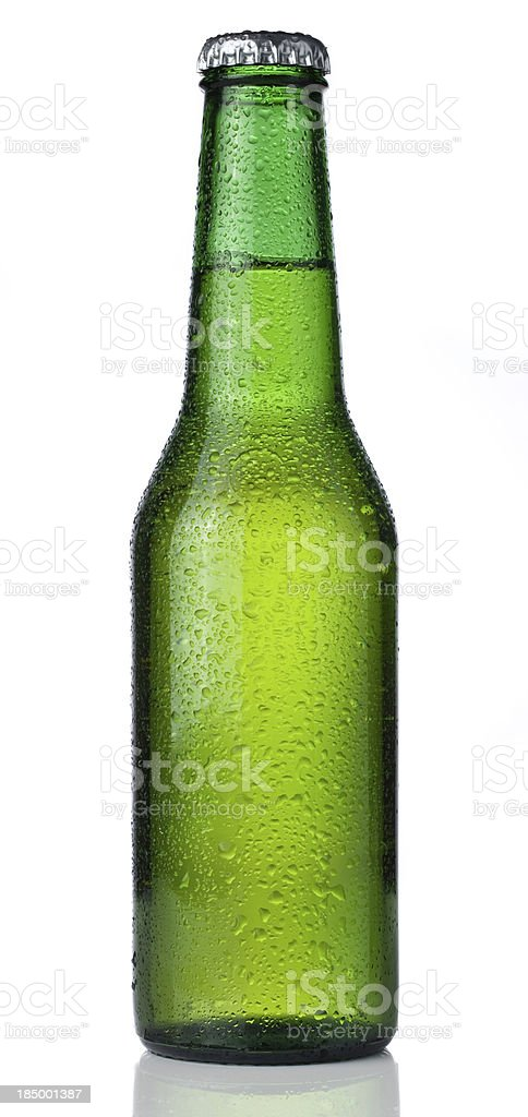 Ice cold bottle of beer isolated on a white background stok fotoğrafı