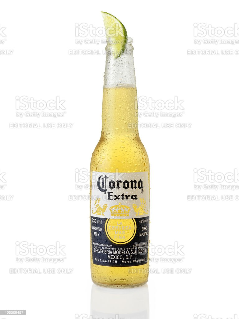 Ice Cold Bottle of Corona Beer stock photo