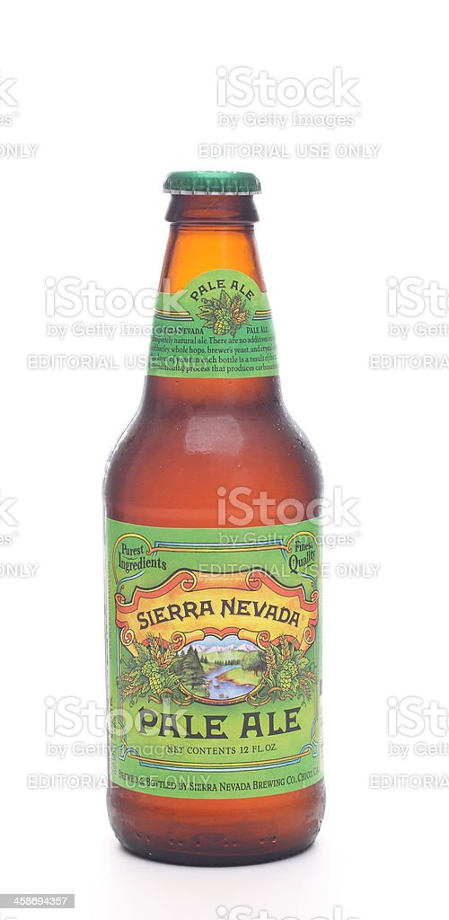 Ice cold bottle of Sierra Nevada Pale Ale stock photo