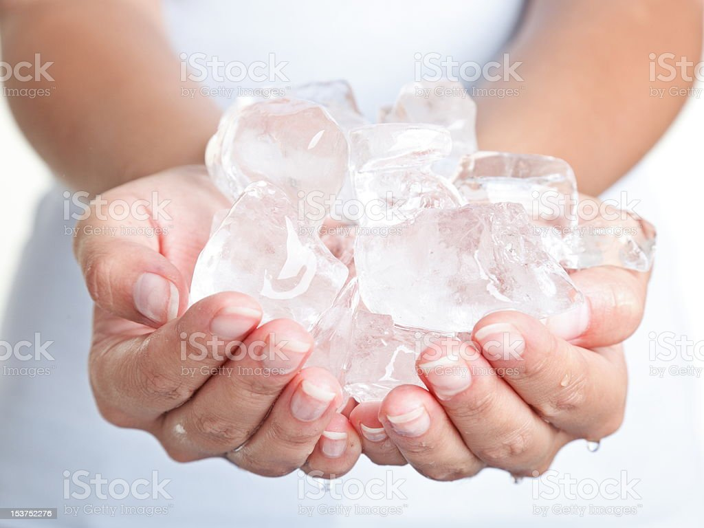 Ice cold hands stock photo
