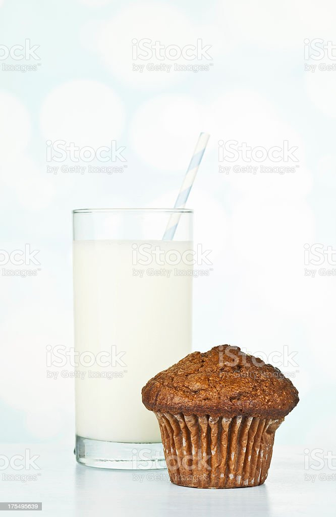 Ice Cold Milk and Breakfast Muffin stock photo