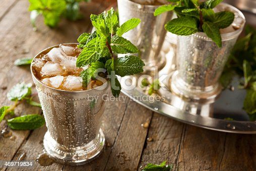 istock Ice cold mint julep in a metal cup 469719834