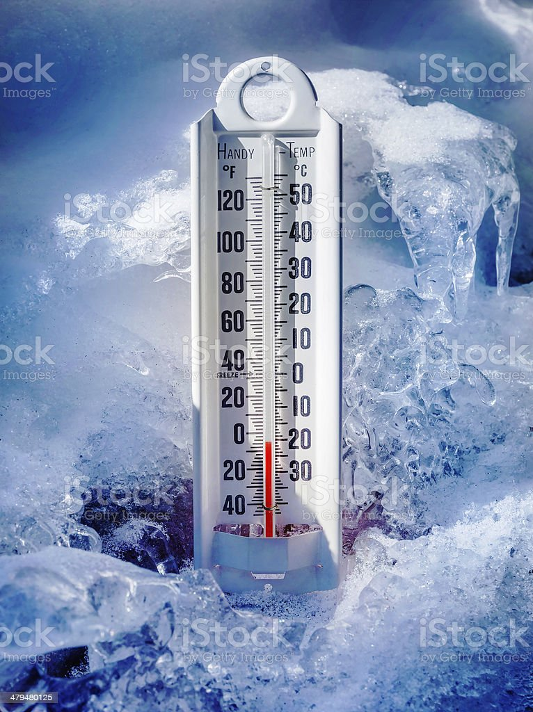 Ice cold thermometer stock photo