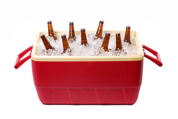 Ice Cooler Ice cooler with beer. (isolated) cooler container stock pictures, royalty-free photos & images