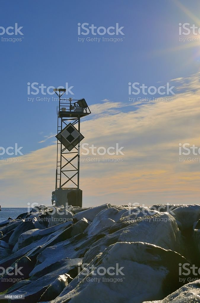 Ice Covered Jetty stock photo