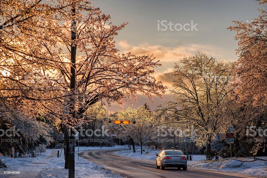 Ice Covered Neighborhood stock photo