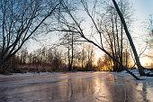 ice covered river, silence, icy silence, reflection, sunset, sunrise