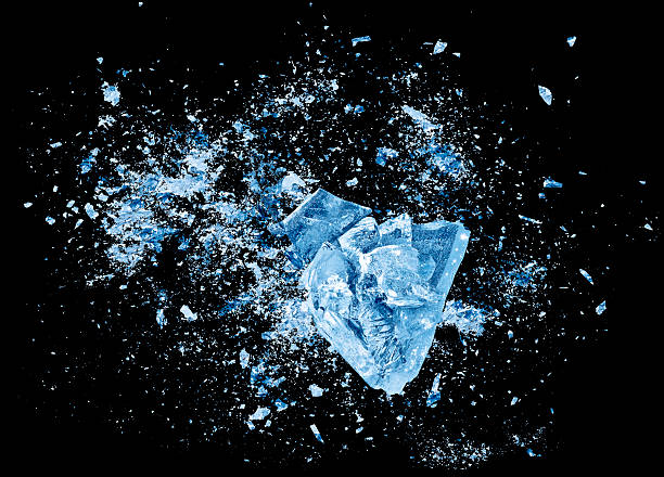Ice crash explosion parts on black background Abstract blue Ice crash explosion parts on black background. Collision, suspension crystal ice cubes damage. ice stock pictures, royalty-free photos & images