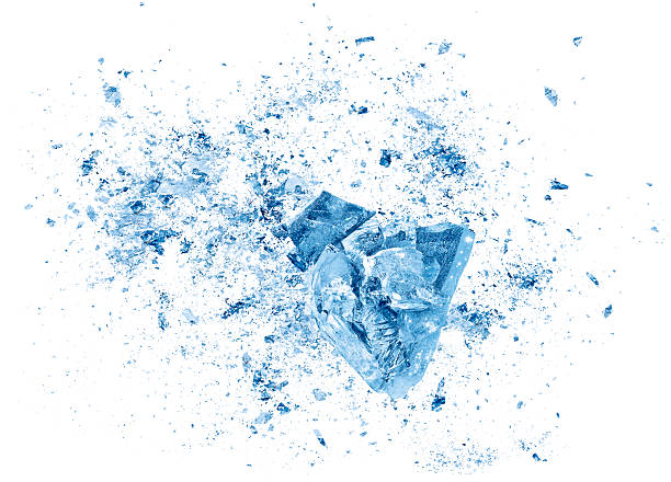 ice crash explosion parts on white background - ice stock pictures, royalty-free photos & images