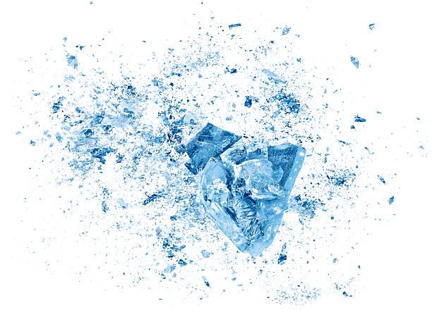 ice сбой взрыва части на белом фоне - лёд стоковые фото и изображения