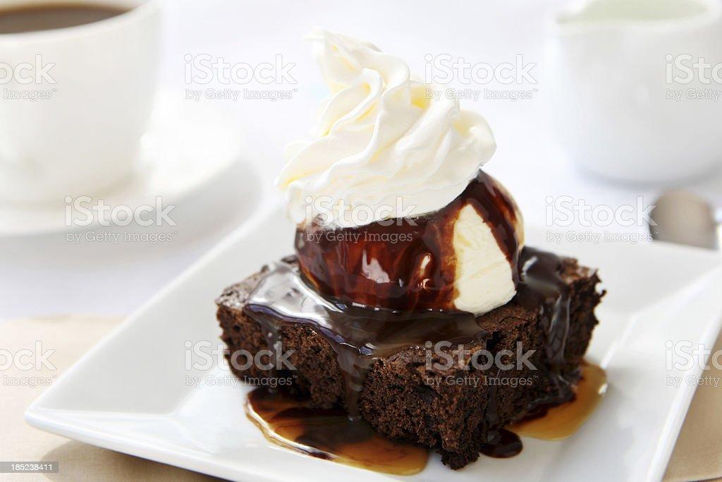 Ice cream and brownie stock photo