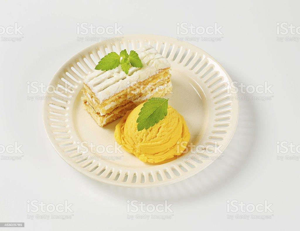 ice cream and creamy cake royalty-free stock photo