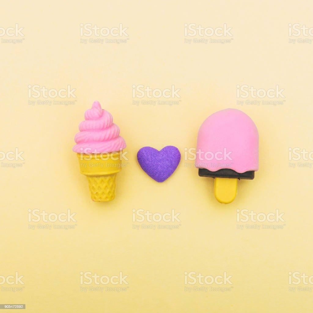 ice cream and heart on yellow stock photo
