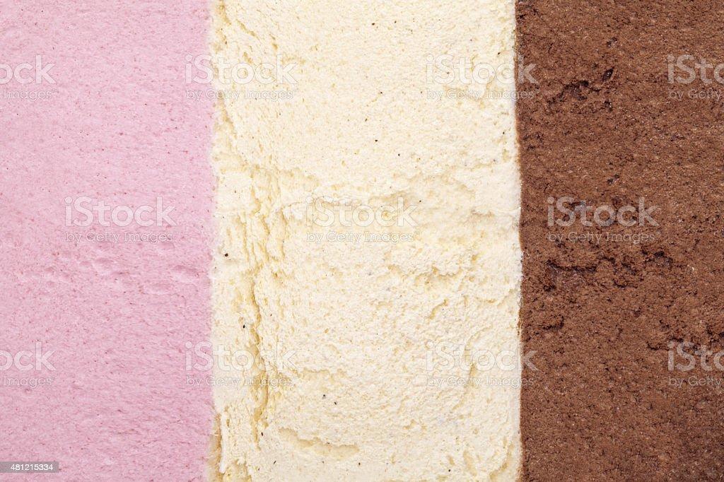 ice cream background with strawberry, vanilla and chocolate stock photo