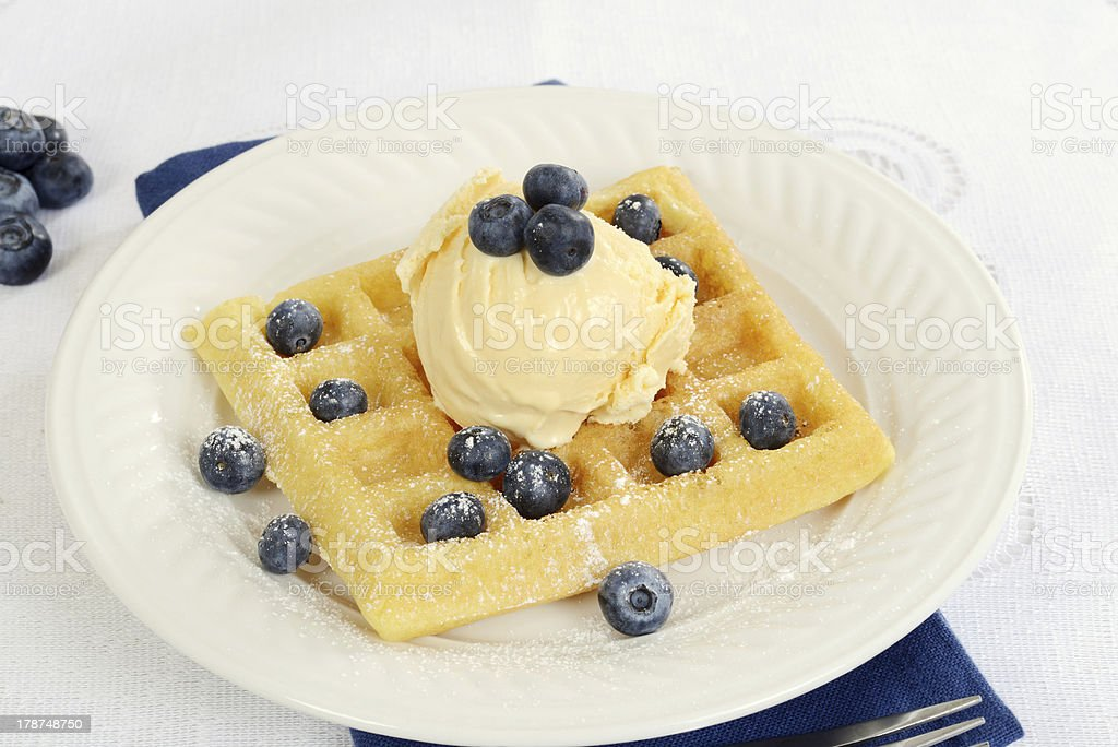 ice cream blueberry waffle royalty-free stock photo