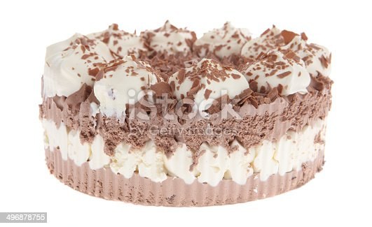 Ice cream cake on white background