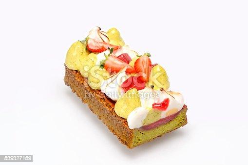 Ice cream cake with strawberries