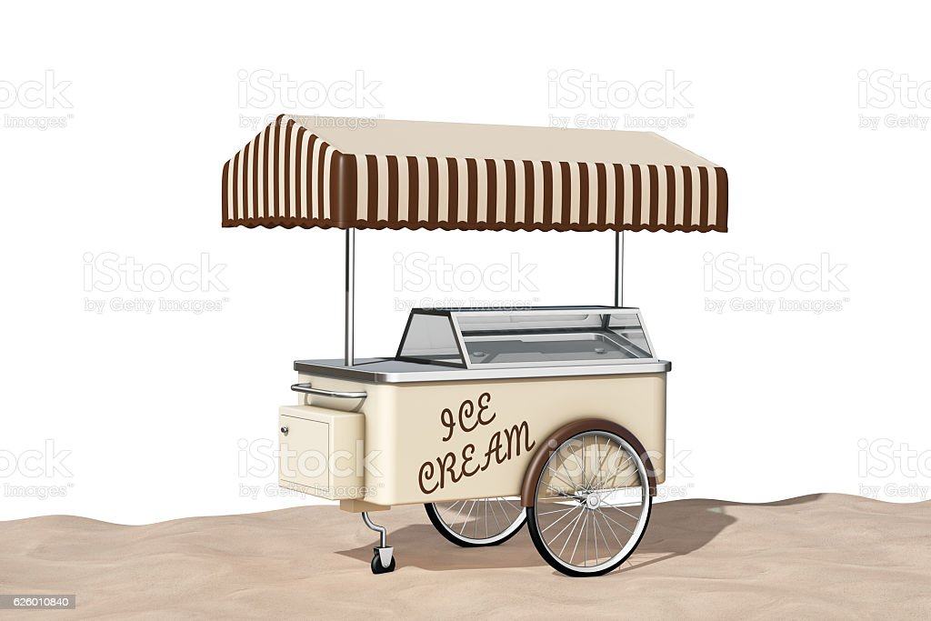 Ice Cream Cart on the Sand Sunny Beach. 3d Rendering stock photo