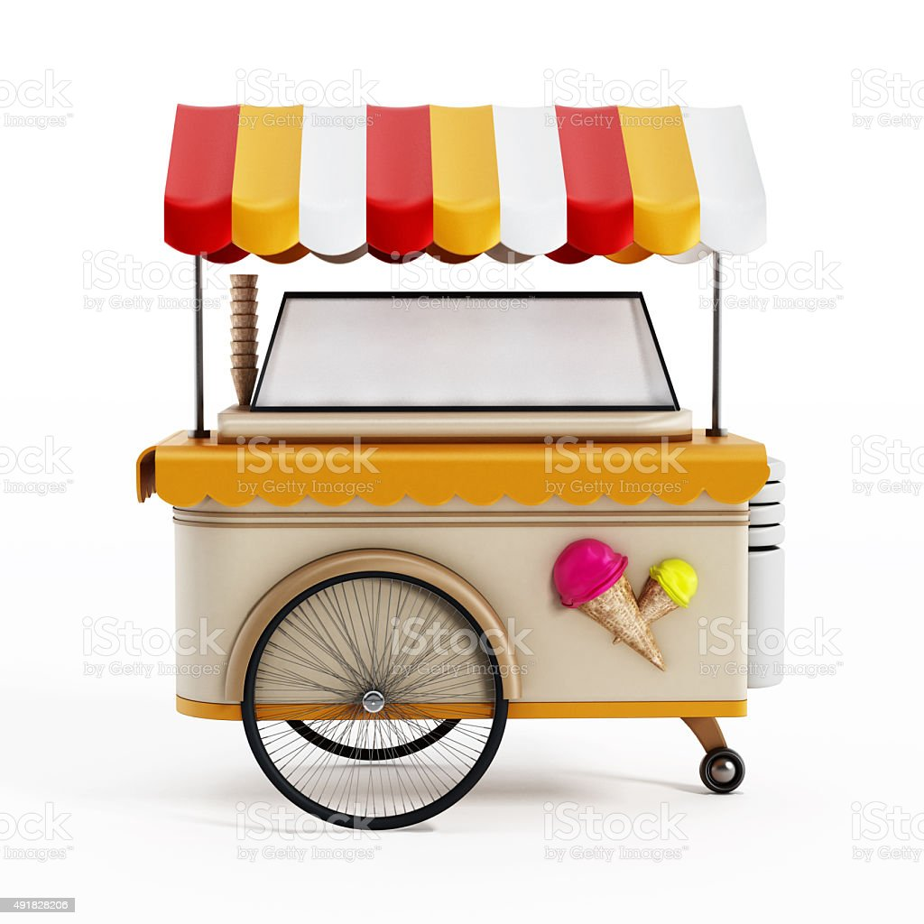 Ice cream cart stock photo