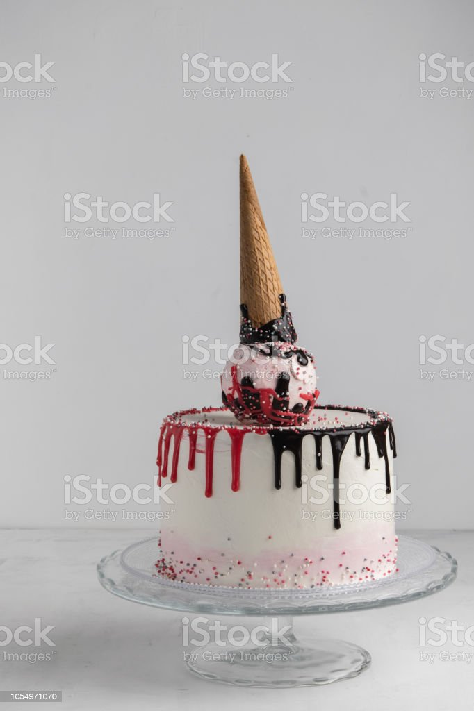 Ice Cream Cone Birthday Layer Cake On A White Background Vertical Free Space For Text