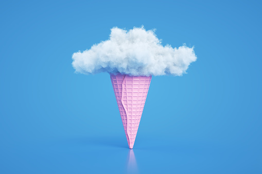 3d rendering of Ice cream cone and cloud. Abstract colorful background, minimal summer concept. Surrealism.