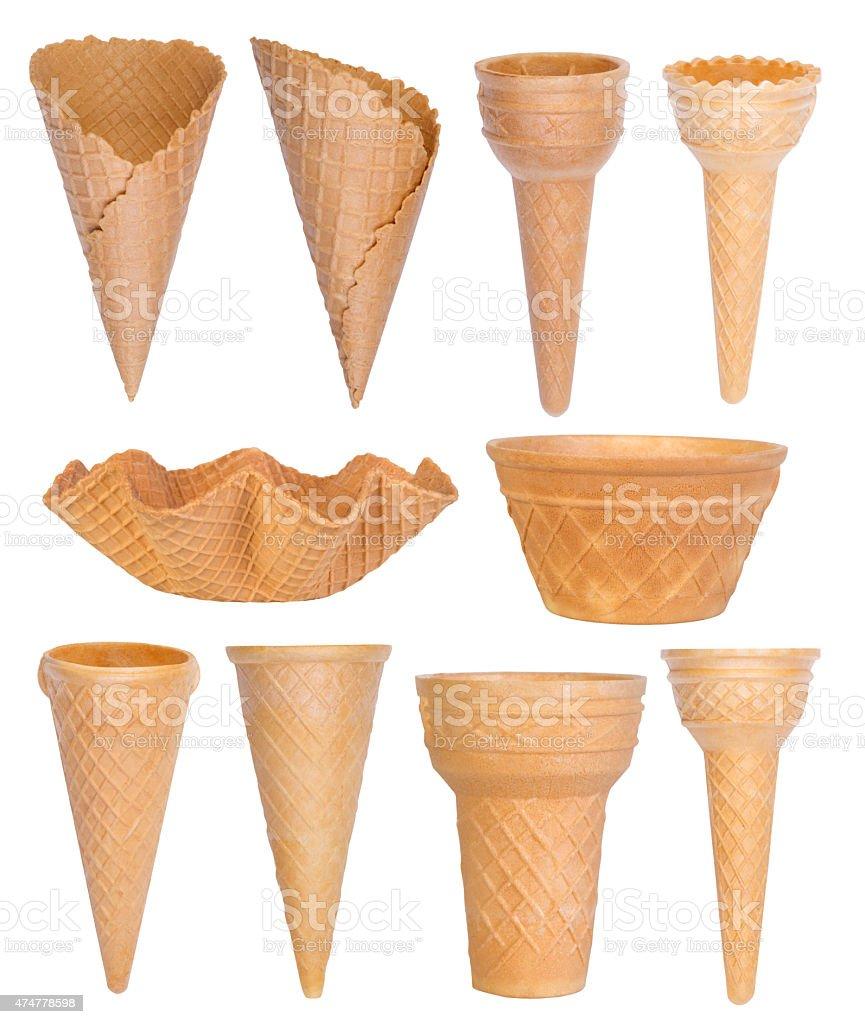 Ice cream cones collection stock photo