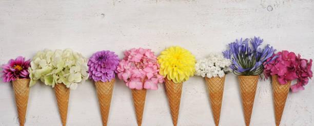 ice cream cones with beautiful flowers stock photo