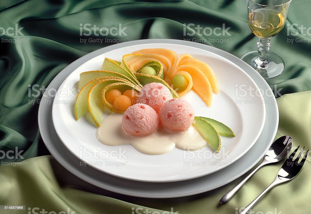 Ice Cream Dessert Melon Sorbet stock photo