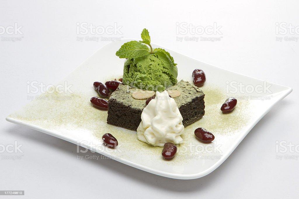 Ice Cream Green Tea with Brownies royalty-free stock photo