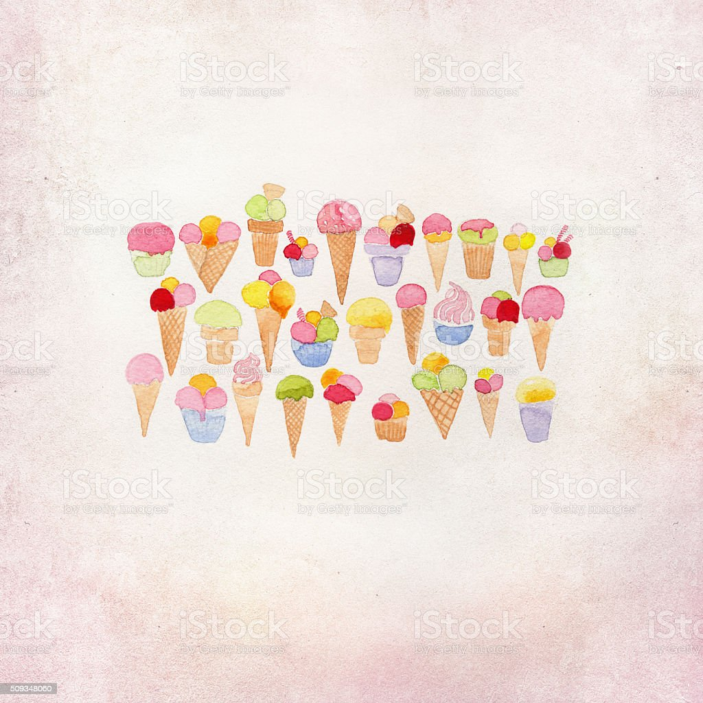 ice cream illustration with watercolor stock photo